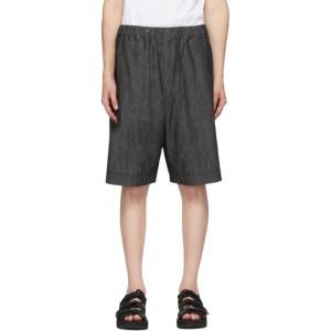 Fumito Ganryu Black Denim Light Ounce Shorts