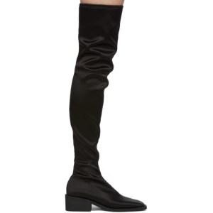 MM6 Maison Margiela Black Satin Over-The-Knee Boots