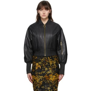 Versace Jeans Couture Black Leather Bomber Jacket