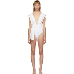 Haight Off-White Crepe V One-Piece Swimsuit