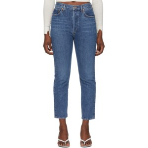 AGOLDE Blue Dark Riley Straight Crop Jeans