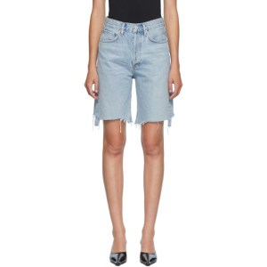 AGOLDE Blue Denim 90s Mid-Rise Loose Shorts