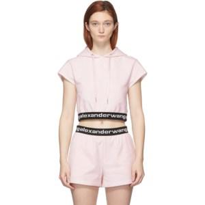 alexanderwang.t Pink Stretch Logo Cap Sleeve Hoodie