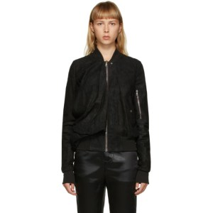 Rick Owens Black Blistered Suede Bomber Jacket
