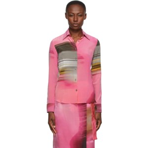Serapis Pink Silk Printed Shirt