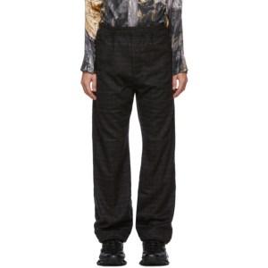 Serapis Brown Wool Grid Lounge Pants
