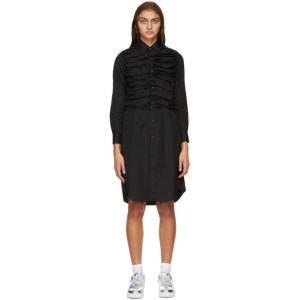 Comme des Garcons Black Ruched Shirt Dress