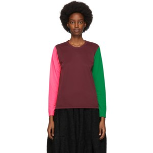 Comme des Garcons Burgundy Pique Colorblock Long Sleeve T-Shirt