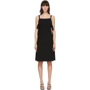 Pushbutton Black Plunge Back Mid-Length Dress