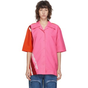Pushbutton Pink and Orange Logo Short Sleeve Shirt
