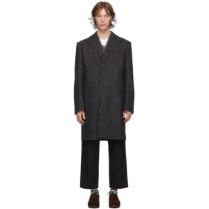 Junya Watanabe Black Wool Marled Coat