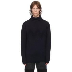 Junya Watanabe Navy Wool Cord Turtleneck