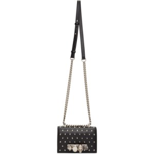 Alexander McQueen Black Mini Studded Jewelled Satchel Bag