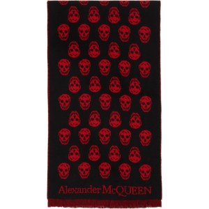 Alexander McQueen Black and Red Skull Scarf