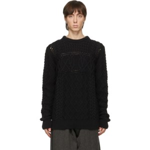 Paul Smith Black Virgin Wool Cable Knit Sweater