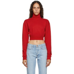 Opening Ceremony Red Self-Tie Cropped Turtleneck