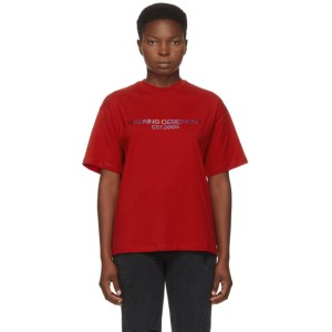 Opening Ceremony Red Embroidered Text Logo T-Shirt
