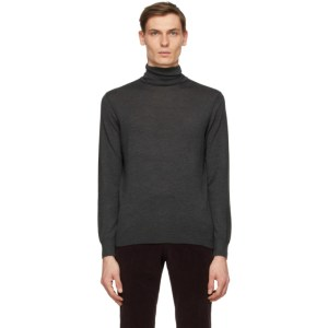 Ermenegildo Zegna Grey Cashmere and Silk Turtleneck