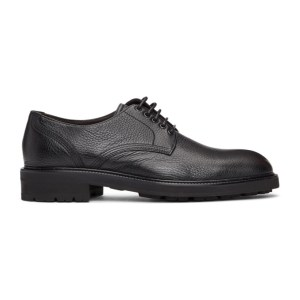 Ermenegildo Zegna Black Leather Arezzo Flex Derbys