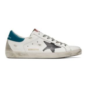 Golden Goose White and Blue Superstar Sneaker