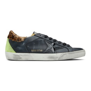 Golden Goose Black and Multicolor Snake Camouflage Superstar Sneakers