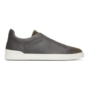 Ermenegildo Zegna Grey Triple Stitch Sneakers