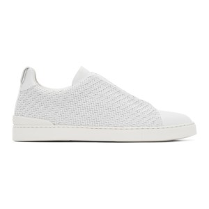 Ermenegildo Zegna White Pelletessuta Triple Stitch Sneakers