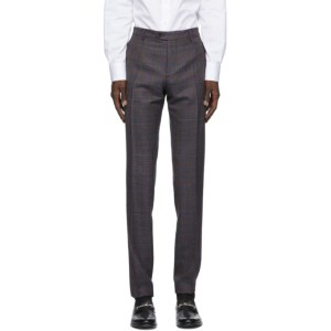 Etro Grey Check Wool Trousers