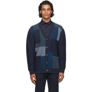 Etro Navy Patch Knit Cardigan