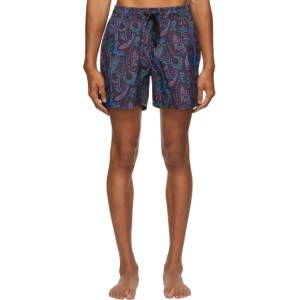 Etro Navy Paisley Swim Shorts