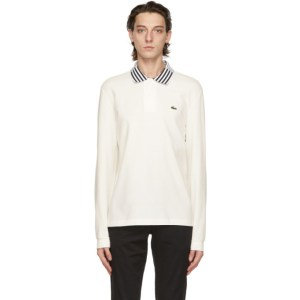 Lacoste Off-White Heritage Long Sleeve Polo