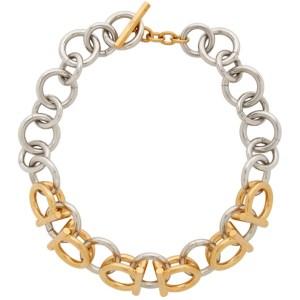 Salvatore Ferragamo Gold and Silver 3D Bicol Necklace