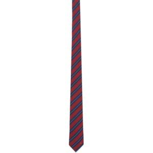 Salvatore Ferragamo Red and Blue Striped Tie