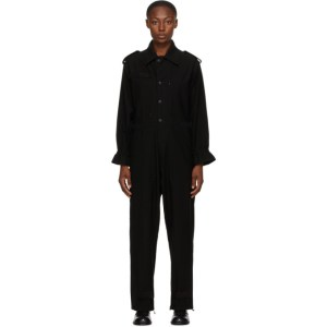 Regulation Yohji Yamamoto Black Wool R-Overall Jumpsuit