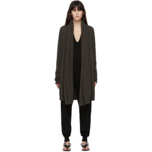 Frenckenberger Green Cashmere Big Neck Straight Cardigan