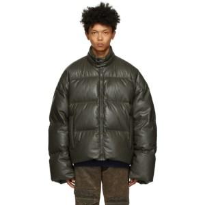A.A. Spectrum Khaki Down Faux-Leather Puffer Jacket