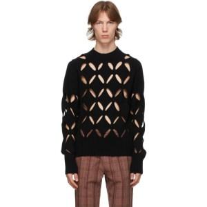 Stefan Cooke SSENSE Exclusive Black Wool Slashed Sweater