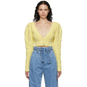 Wandering SSENSE Exclusive Yellow Cable Knit Cropped Cardigan