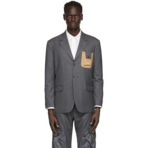Li-Ning Grey Striped Pouch Blazer