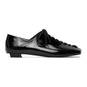Flat Apartment Black Patent Squared Toe Lace-Up Oxfords