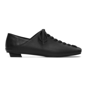 Flat Apartment Black Squared Toe Lace-Up Oxfords