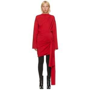 Balenciaga Red Wrap Short Dress