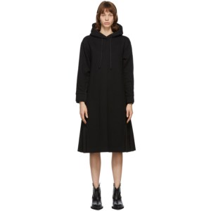 Juun.J Black Pleated Hoodie Dress