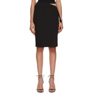 Mugler Black New Tech Scuba High-Slit Skirt