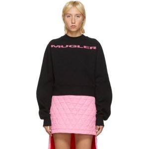 Mugler SSENSE Exclusive Black and Pink Logo Cropped Sweatshirt