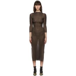 Helenamanzano Brown and Black 3D Stripe Floor Dress