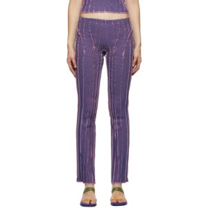 Helenamanzano SSENSE Exclusive Pink and Blue 3D Stripe Lounge Pants