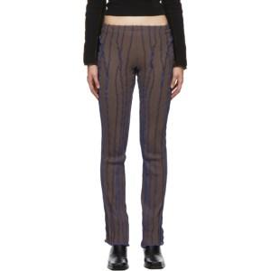 Helenamanzano SSENSE Exclusive Brown and Blue 3D Stripe Lounge Pants