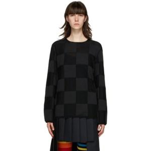 Comme des Garcons Homme Plus Black Check Intarsia Sweater