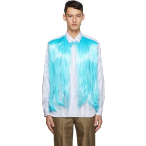 Comme des Garcons Homme Plus White and Blue Hair Shirt